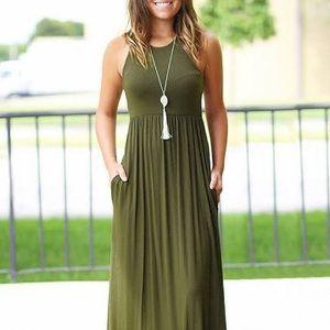 Hunter green boutique maxi dress